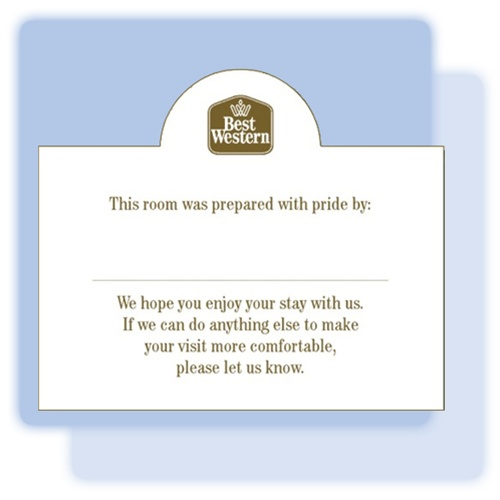 Best Western Pride Welcome Tent Card