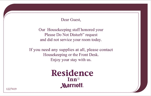 Message To Room Service Hotel