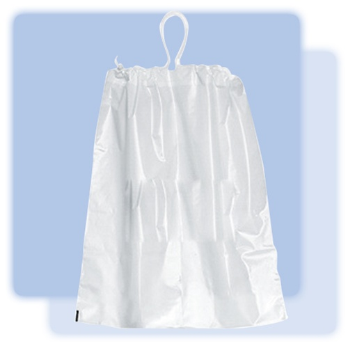 16x18x3 White plastic laundry bag with cotton drawstring, No. 151 ...