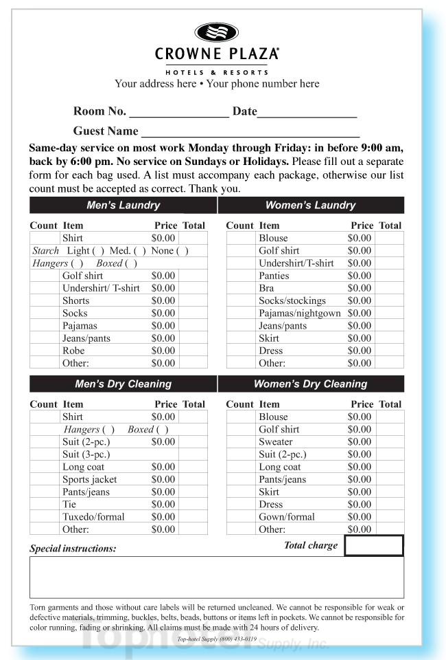 2 part Custom printed Laundryvalet List 5 12 Wide X 8