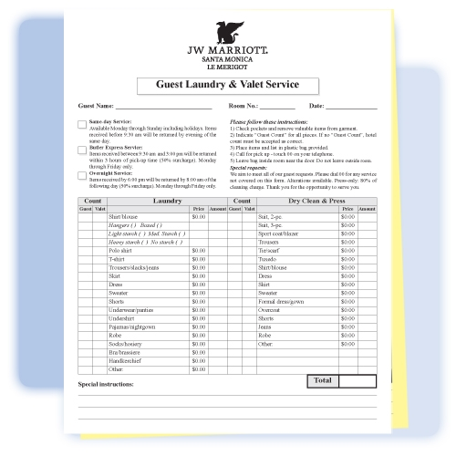2 Part Custom Printed Laundry Valet List 8 1 2 Quot Wide X 11