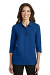 Port Authority® Ladies Silk Touch<sup>TM</sup> 3/4-Sleeve Polo