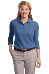 Port Authority® Ladies EZCotton™ Pique 3/4-Sleeve Polo