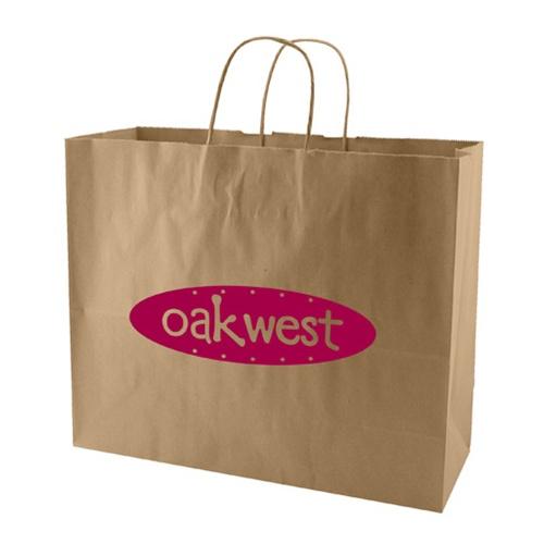 "16 X 12 Custom Printed Kraft Paper Wedding Gift Bags: Custom 16"" X 6"" X 13"" Natural Kraft Shopping Bag, No. 765"