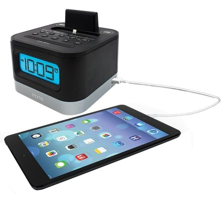 fm stereo alarm clock radio with lightning connector for iphone and ipod. Black Bedroom Furniture Sets. Home Design Ideas