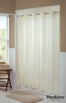 Brand Mandated HooklessR Shower Curtain Litchfield Beige Fabric No 774 HBH43LIT05X