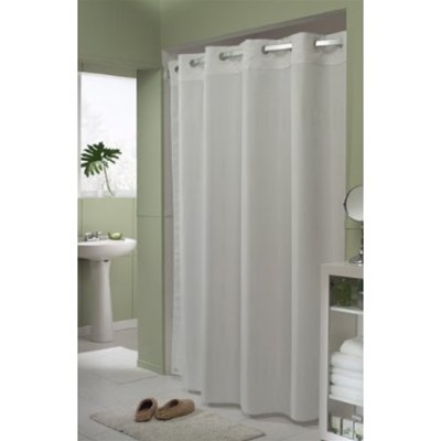 Comfort Suites Hookless® Blades White Fabric Shower Curtain, No.  774 HBH49PEH01CS