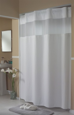 Waffle White Hookless shower curtain vinyl No 774HBH52D201X