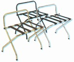 Gaychrome luggage rack with backrest, chrome with black straps, #022-1055C-BL - case of 6 pcs.