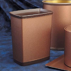7 qt. brushed metallic rectangular wastebasket by WESCON/Lancaster Colony, No. 09-3400, case of 12 pcs.