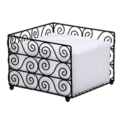 Black Wire Basket and Linen Like Luncheon Napkin Combo Holder , No. 10-BSK2162