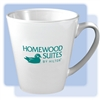Homewood Suites 12-ounce latte mug; white ceramic mug with 1-color logo