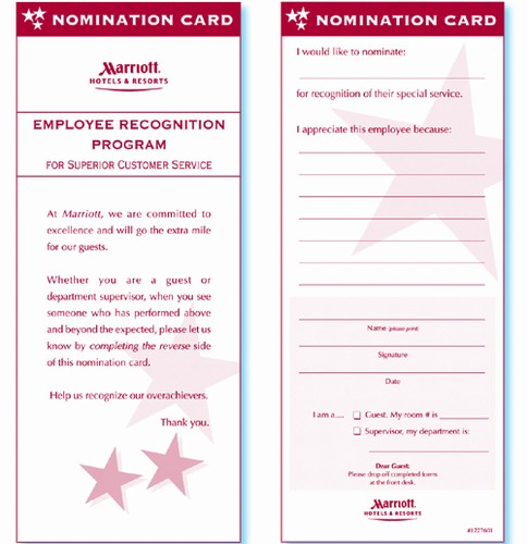 marriott hotels  u0026 resorts employee recognition flat card