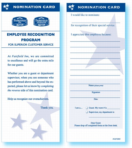 fairfield inn employee recognition card employee recognition cards