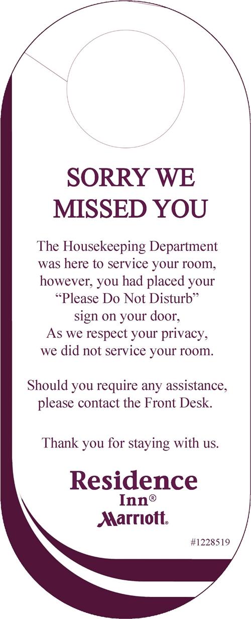 Residence Inn By Marriott Sorry We Missed You Door Hanging Sign 1228519
