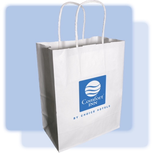 Comfort Inn Medium Paper Gift Bag White Kraft With Twisted Handles And