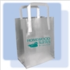 Homewood Suites frosted shopping bag, high-density frosted plastic bag with fused handles and 1-color metallic teal Homewood Suites logo.