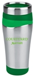 16-ounce tumbler with stainless outer wall with Courtyard by Marriott logo.