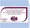 "Residence Inn ""Sanitized dishes and utensils"" magnet, No. 169-1225519"