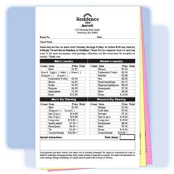 "3-part custom-printed laundry/valet list, 5-1/2"" wide x 8-1/2"" long, #564-LLC3"