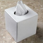 White Porcelain Boutique Tissue Box Cover 5 1 4 Square X