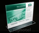 "Acrylic sign stand for Marriott internet card, T-type 7"" wide x 5"" high."