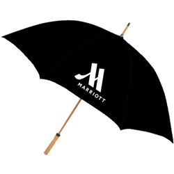 Marriott Hotels & Resorts guest umbrella with natural wood golf handle. BLACK #662-A501C/01BLK