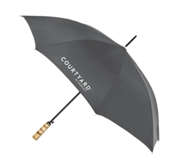 COURTYARD BY MARRIOTT guest umbrella with natural wood golf handle, #662-A501C/05GRAY