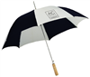 AC Hotels by Marriott guest umbrella with natural wood golf handle. Alternating Black & White #662-A501C-AC
