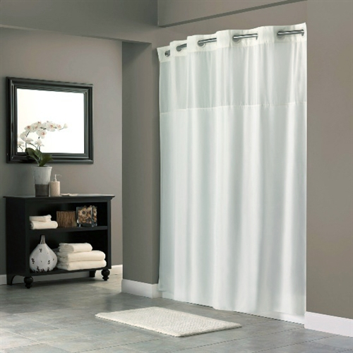 Hookless® shower curtain with sheer widow, Mystery 300 denier beige ...