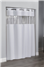 "Hookless® View From The Top WHITE fabric shower curtain vinyl window, 71"" x 74"", No. 774-HBH49PEH01"