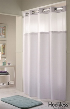Best Western HooklessR Shower Curtain Dobby Stripe White Fabric No 774 HBH71D201X