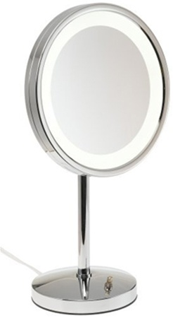 Jerdon First Class 5X Lighted Table Top Mirror, Chrome, No. 780-HL1015CL