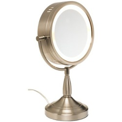 Jerdon 7X lighted table top mirror, nickel, No. 780-LT856N