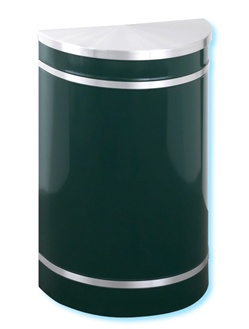 "Glaro RecyclePro ""Profile"" half round hinged cover waste receptacle, No. 783-1895"