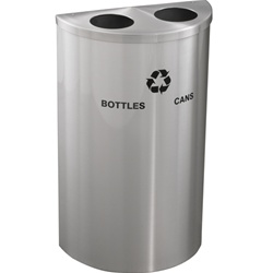 "Glaro RecyclePro ""Profile"" half round dual purpose recycling receptacles, No. 783-1899-BC"