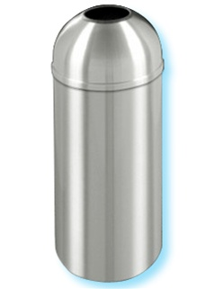 "Glaro ""New Yorker"" all satin aluminum open dome top waste receptacle with 7"" opening, #783-T1536SA"