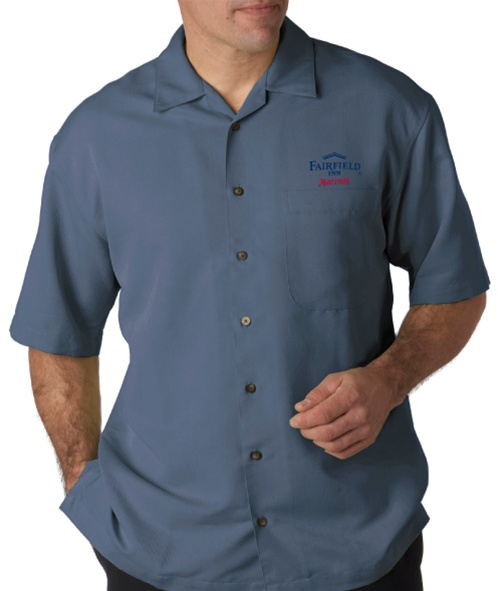 UltraClub Mens Microfiber Cabana Sand Washed Camp Button Shirt