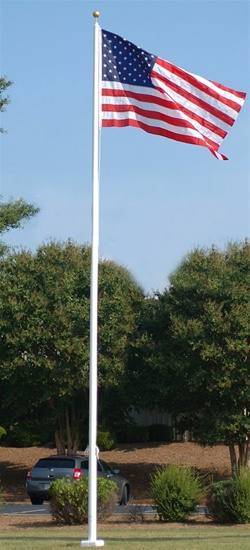 25' Fiberglass flag pole, with sleeve base. Item #824-T-25-IH